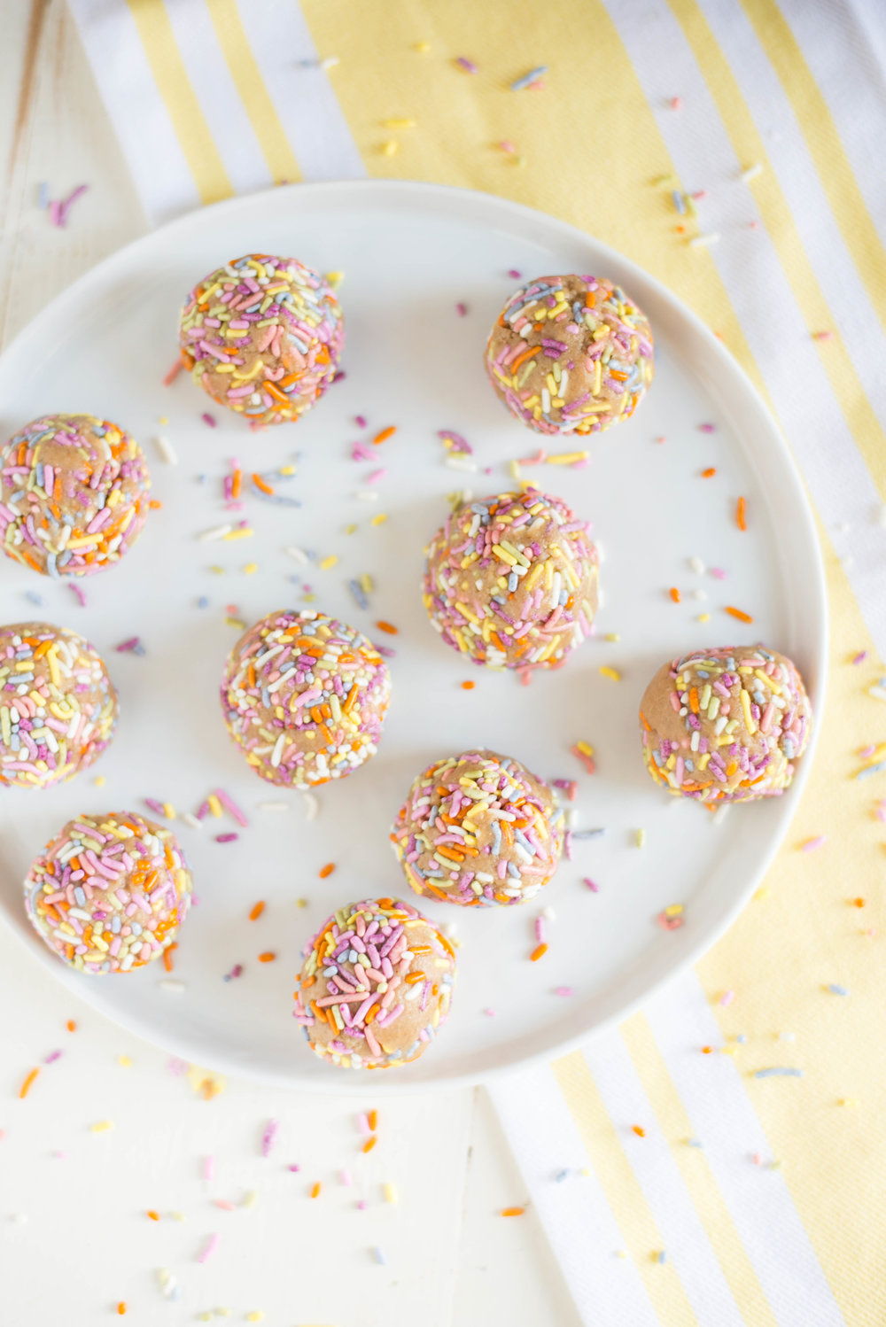 Irresistibly fun and totally delicious, One-Bowl Vanilla Cake Batter Bites are a naturally-sweetened, gluten-free, dairy-free treat to celebrate every day.