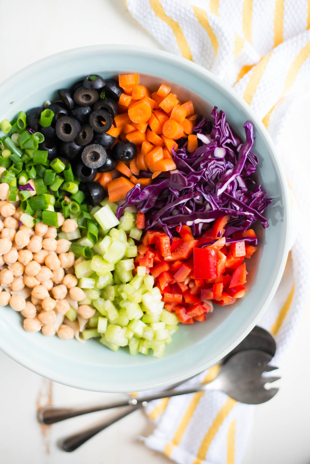Bright, colorful, and super tasty, 20-Minute Rainbow Veggie Pasta Salad is just the thing for picnics, potlucks, or as a healthy side any night of the week.