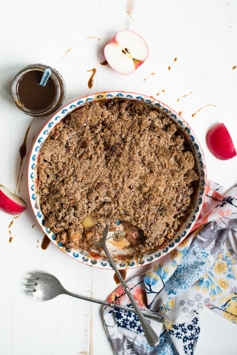 Drizzled with a dreamy caramel sauce (that just happens to be refined sugar-free and dairy-free), Salted Caramel Paleo Apple Crisp is simple to prepare and perfect for your holiday table or dessert, any time!