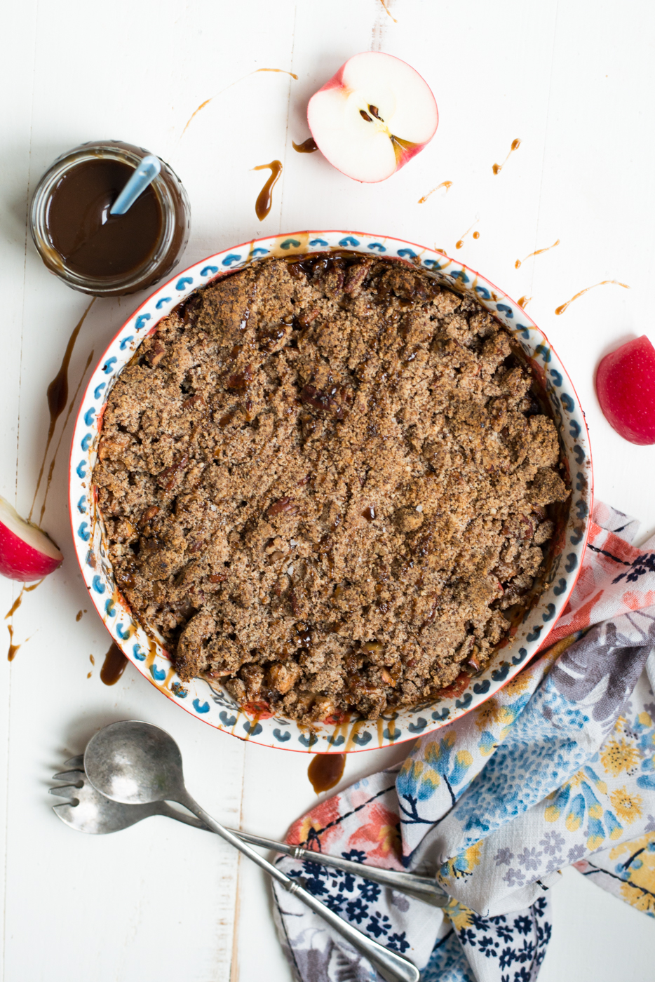 Drizzled with a dreamy caramel sauce (that just happens to be refined sugar-free and dairy-free), Salted Caramel Paleo Apple Crisp is simple to prepare and perfect for your holiday table or dessert, any time! #dairyfree #glutenfree #paleo #dessert #vegan #realfood #recipe #fall #applecrisp