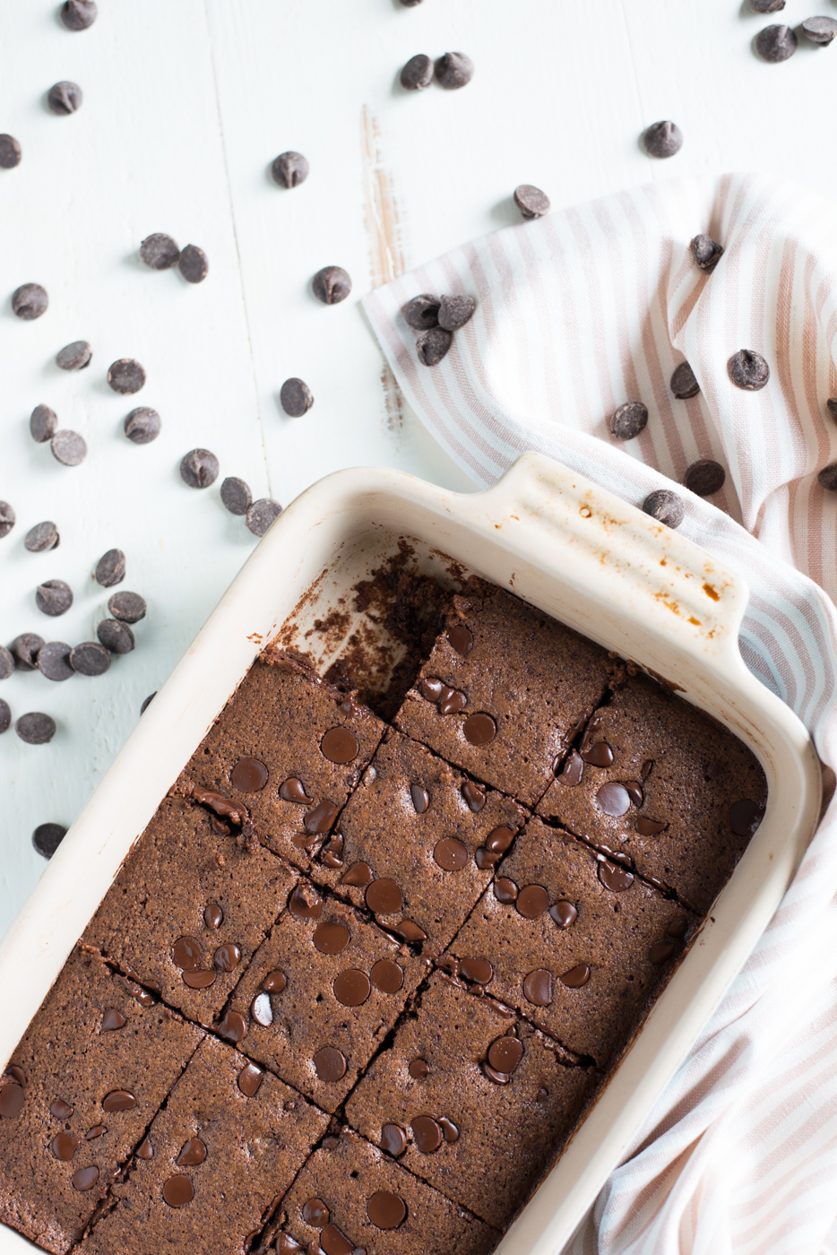 Chocolatey, cakey, rich, and delicious, One-Bowl Flourless Double Chocolate Brownies are a snap to throw together + the perfect gluten-free, dairy-free, grain-free, refined sugar-free treat!