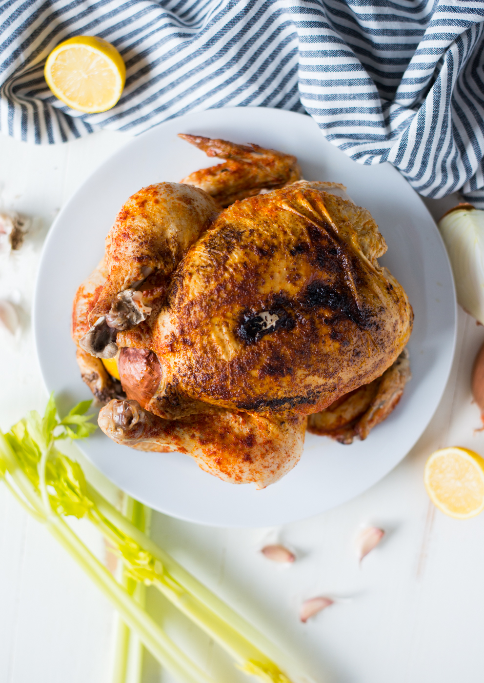 """5-Ingredient Instant Pot """"Rotisserie"""" Whole Chicken is the easiest way to get a chicken dinner on the table. A simple and delicious gluten-free, dairy-free, grain-free, paleo, and whole30 friendly recipe."""