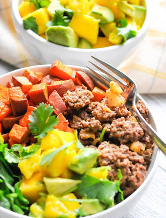 Sweet Potato and Pineapple Beef Bowls with Mango Avocado Salsa