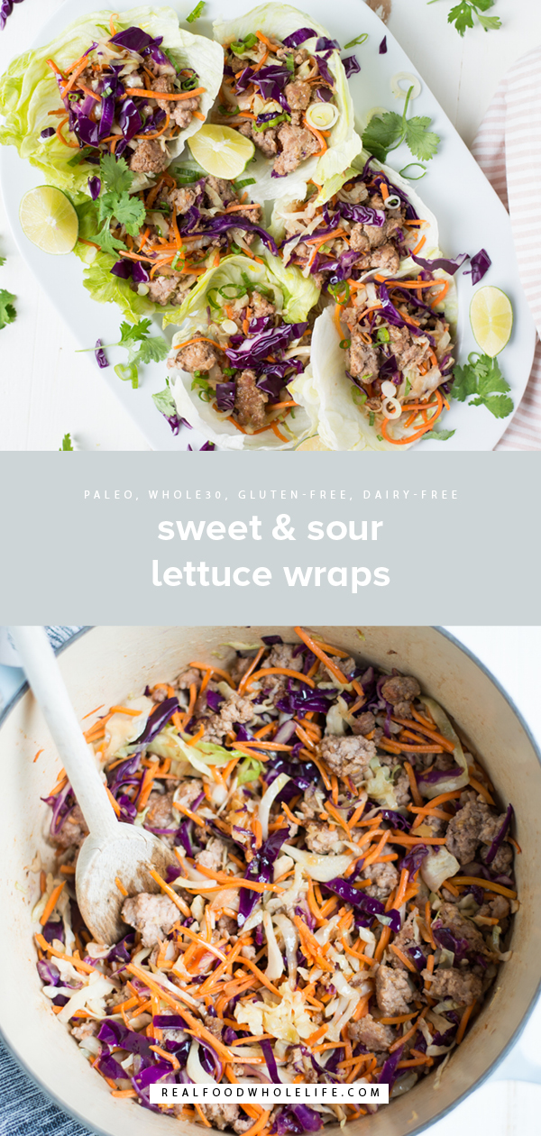 Sweet, savory, and totally delicious,15-Minute Sweet & Sour Lettuce Wraps (paleo, soy-free) is a super fast and tasty weeknight dinner recipe to make tonight! Gluten-free, dairy-free, whole30.