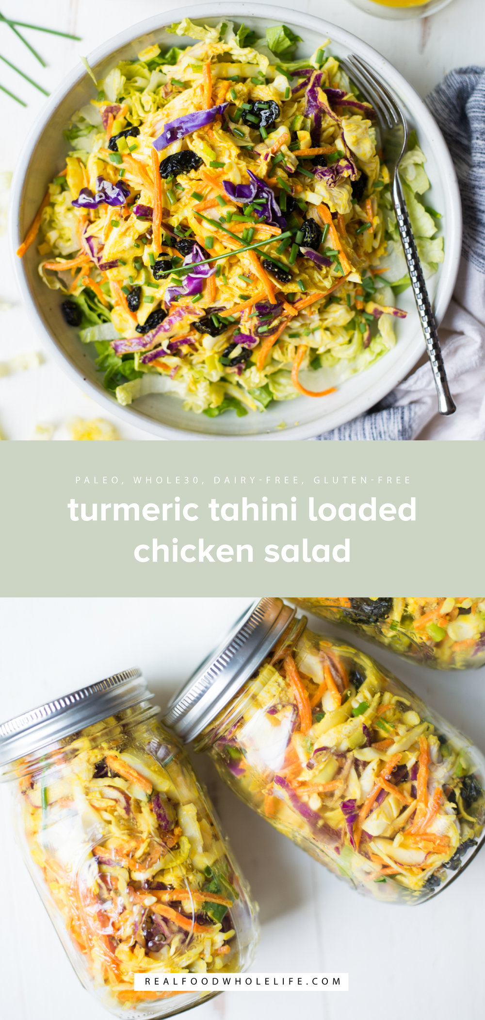 Packed with nourishing ingredients, Turmeric Tahini Loaded Chicken Salad is perfect for lunch at home or to make ahead and take on-the-go! A paleo, whole30, dairy-free, gluten-free, healthy recipe.