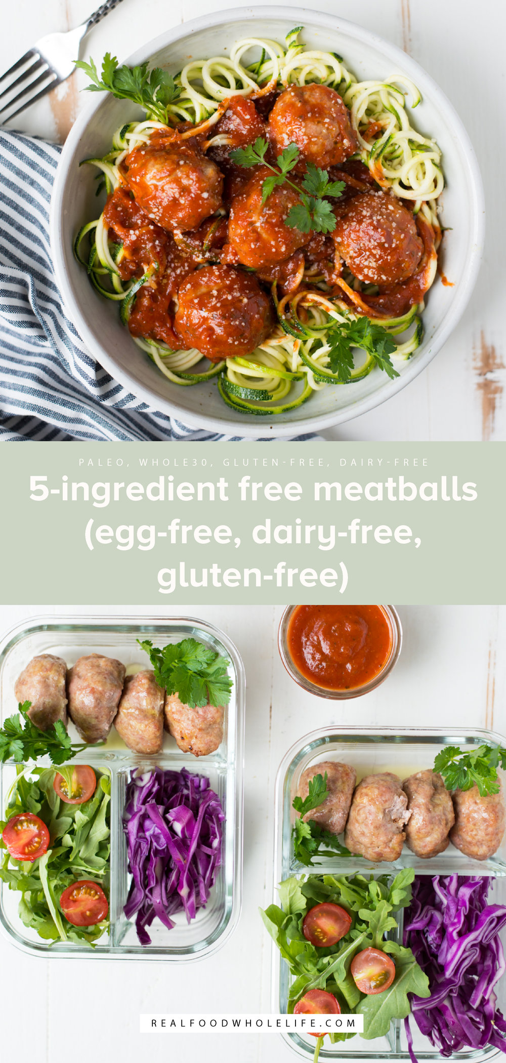 5-Ingredient Free Meatballs (egg-free, dairy-free, gluten-free) are free of all the major allergens, but still taste amazing and are easy to make with a short list of simple ingredients. Make a double batch during meal prep and you're good to go! #realfoodwholelife #realfoodwholeliferecipe #recipe #dinner #whole30 #whole30recipe #paleo #paleorecipe #glutenfree #dairyfree #healthy #healthyrecipe #easyrecipe #quickrecipe #eggfree #breadcrumbfree