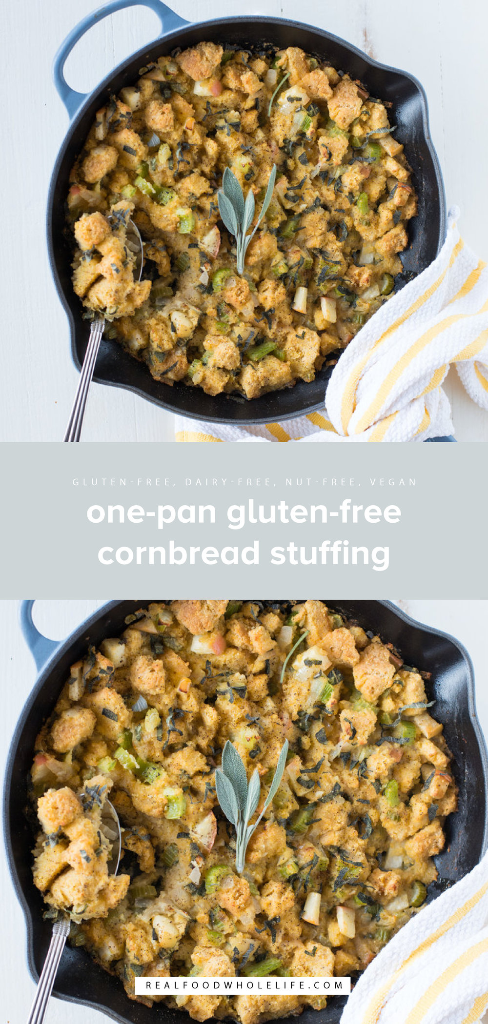 Simple to make, One-Pan Cornbread Stuffing (Gluten-Free, Dairy-Free) comes together easily and tastes amazing! #realfoodwholelife #glutenfree #dairyfree #nutfree #vegan #vegetarian #healthyrecipe #recipe #dinner #healthyside #lunch #easyrecipe #quickrecipe #onepan