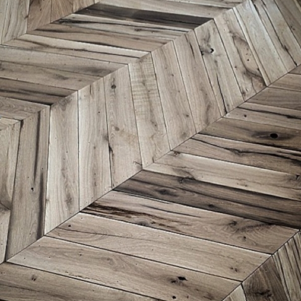 Wooden flooring from reclaimed wood