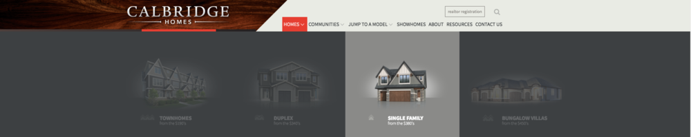 A screenshot of the Calbridge Homes 'model' mega-menu.