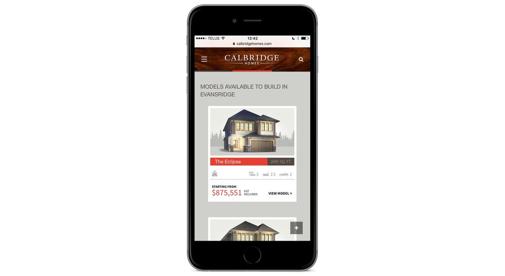 Calbridge Homes homepage - mobile