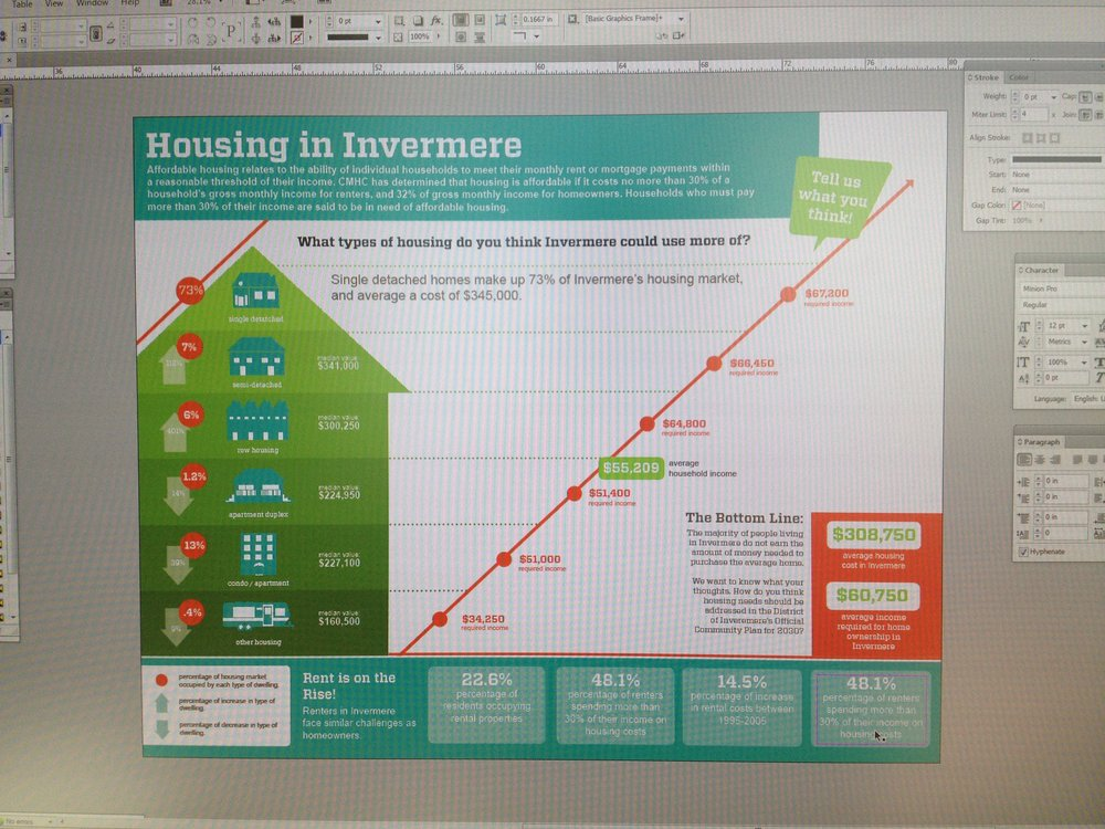Working with Urban Planners, I got to make infographics about things like affordable housing. Here's a process shot.