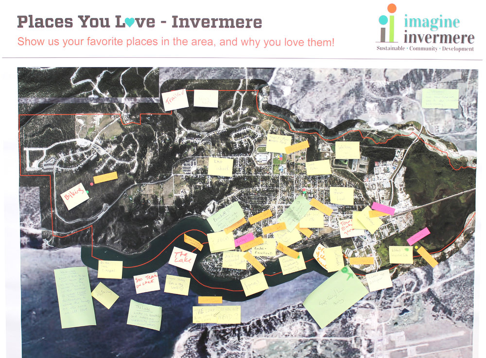 Many of the boards I created asked the public to interact - in this example, residents of Invermere were invited to show us the places they love most. All of this data eventually found its way into the engagement summary.