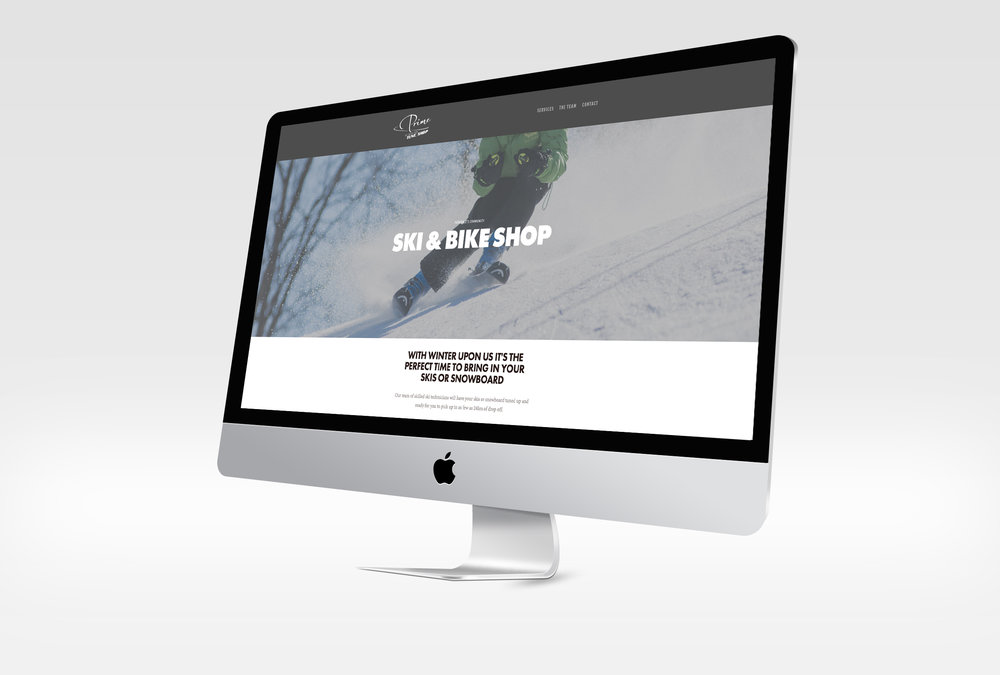 Prime Tune Ski & Bike Shop homepage, winter.