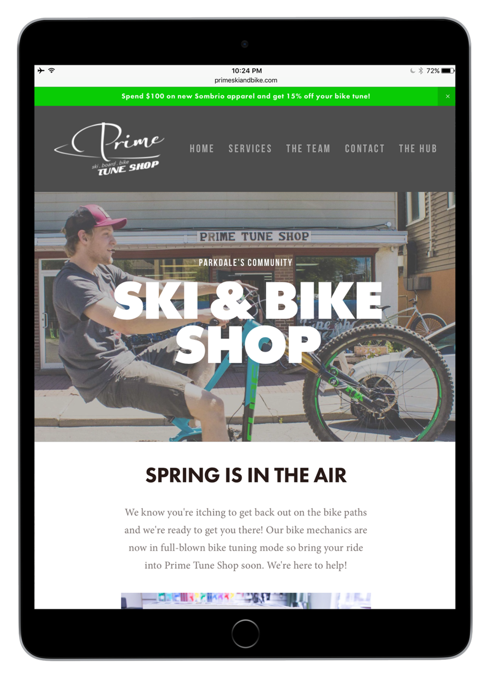 Prime Tune Ski & Bike Shop homepage, spring.