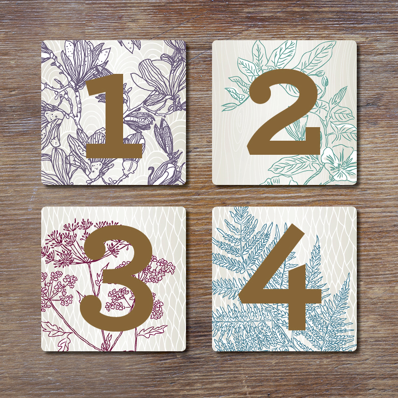 Table numbers made to match place settings.