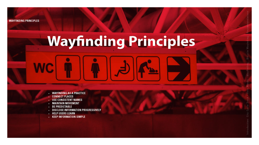 The presentation covered key Wayfinding principles and how they apply to Calgary's cycle track.