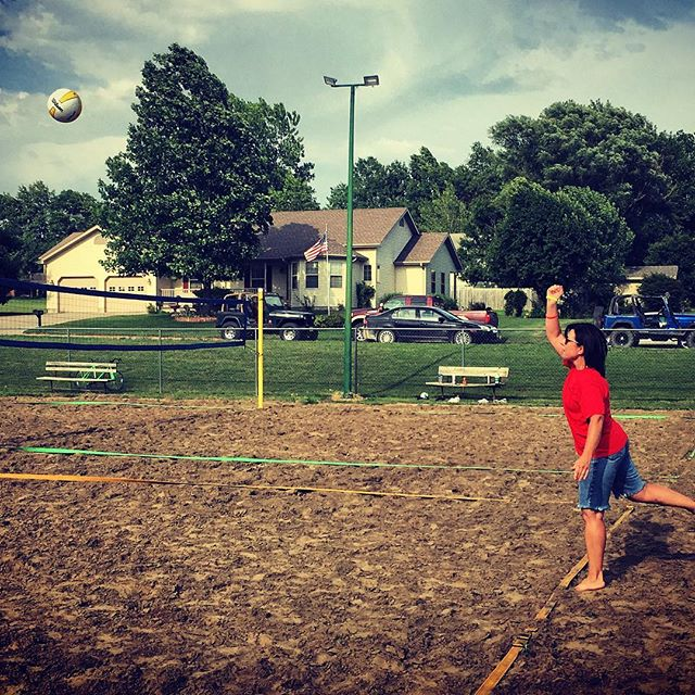 Honorary First Hit of the 2nd Annual Jaycees Sand Volleyball League. Thanks to the Community Medical Center for the continued support on making the court renovation and league a reality. Linda Santo, of CMC, provided the First Hit of the 2016 Season. Good luck, volleyball players!