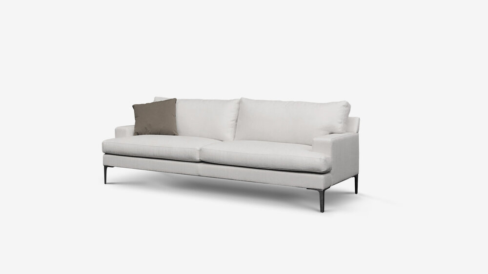 "Linear sofa by belle A ""t cushion"" classic with a conventional seating height as standard.   soft surface moulded foam cushions support channeled feather, down & fibre back cushions provide excellent support.   An unobtrusive arm makes this an ideal apartment or small room sofa. available in any length with legs or rail options"