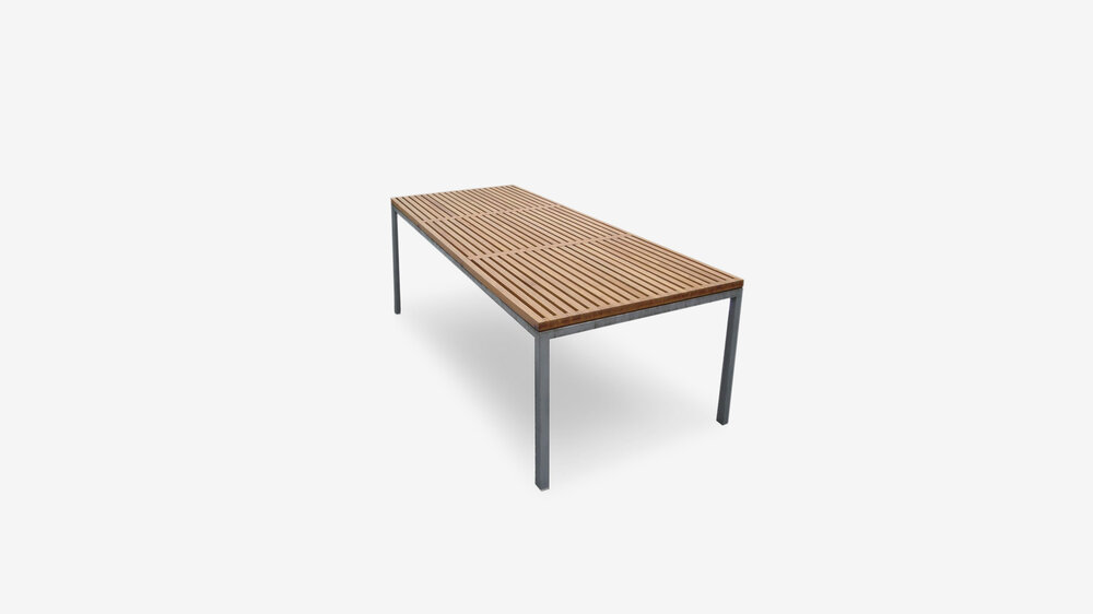 Reef table by Belle   The reef top top can be made from any suitable hard wood of your choice, stained or oiled.    The base can be produced in stainless steel, galv or exterior powdercoat. made to any size to suit your requirements