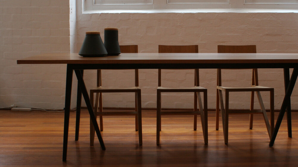 tommy table by nonn   construction: ash/ american oak/ american walnut. finish options: danish oil,mid brown stain,  black matte, polyurethane. size: 1850/2400 long x 950 wide