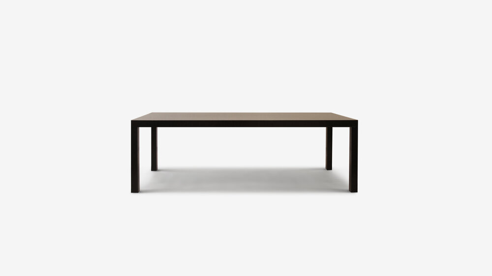 Parsons table by Belle   The Parsons can be made to suit your requirements.     Made from solid timber to any size. The standard model is in lacquer or is dark stained with a clear two pac coating.