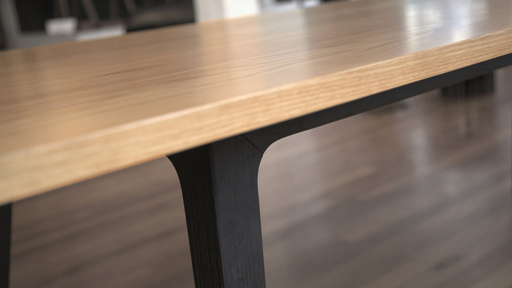 Soul table by Nonn   construction: ash/ american oak/ american walnut. finish options: danish oil, white danish oil, mid brown stain,   black/brown matte finish, polyurethane finish. size: 1850/2400 long x 950 wide/ see our sample box for timber finishes  technical detail