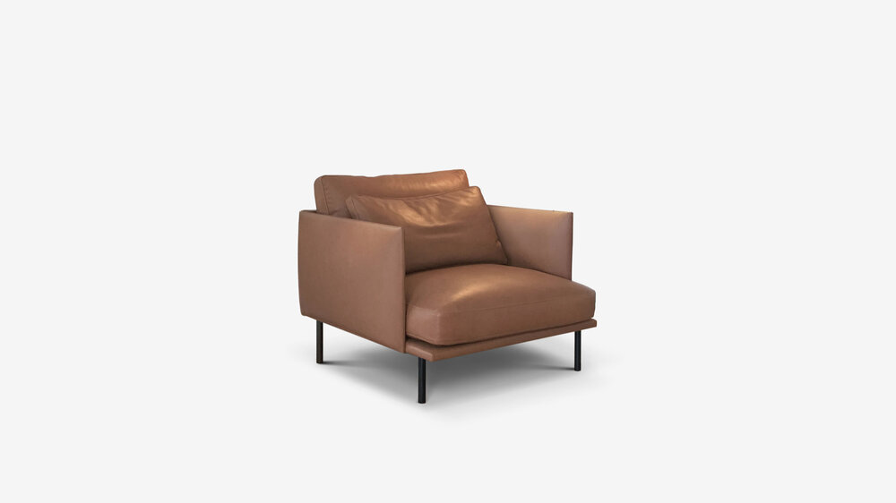 Cherry   seat cushions: moulded high density foam and luxurafoam. back cushions and overlay cushions: feather and down in a channeled liner.   frame: powder coated steel base frame/ black matte/ dark bronze.   see our sample box for: metal finishes/ leather options/ fabric options.  technical detail