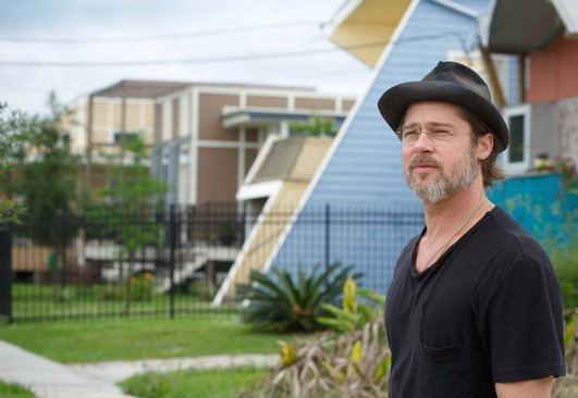 Actor and philanthropist Brad Pitt revisiting the homes he helped build in New Orleans' 9th Ward in 2005 after Hurricane Katrina