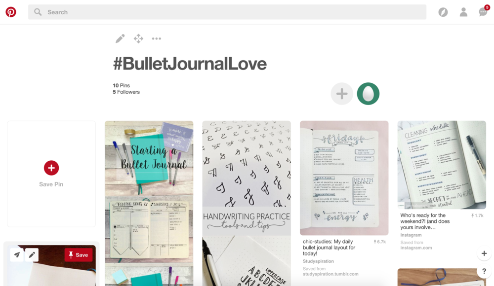 MY BUJO PINTEREST BOARD