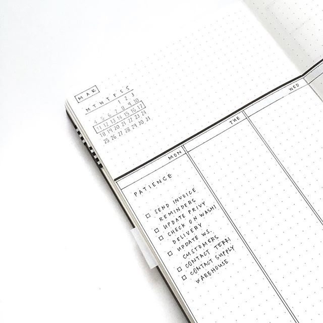 I'm back from @plannercon_official and finally rested. This month in my journal I'm drifting back to my original style: crisp lines, square boxes (thanks to my original stencil) and a simple calendar stamp. ➖ There's a lot going on in my head these days. And as a result I've been pretty quiet. As I take the time to reflect and figure out some things, I've reintroduced daily mantras back into my journal. Today I need to practice patience. The days go by so slowly when you're waiting for good or bad news. I need to refocus my energy into something positive instead of counting down the days and hours. So this week I'm going to tackle a few house projects I've been putting off.