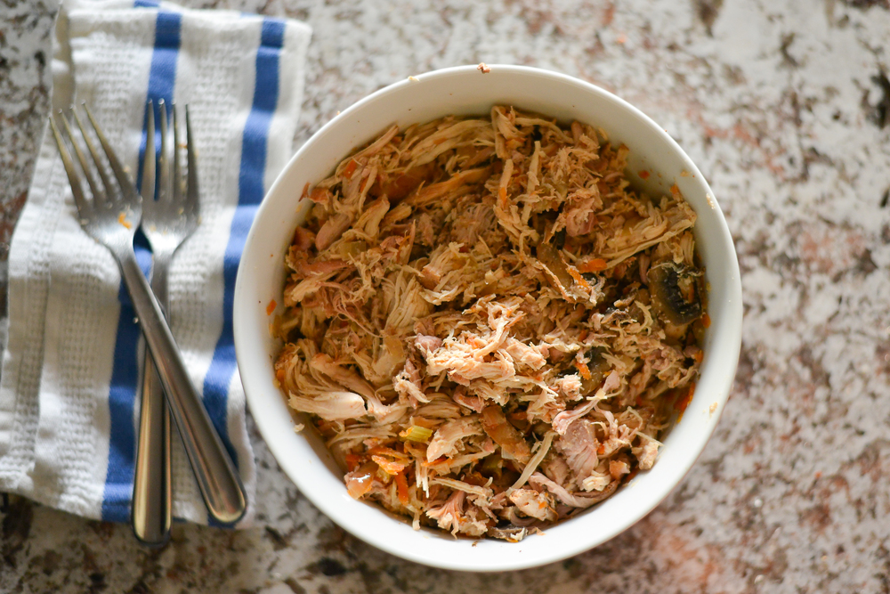 Shredded slow cooked chicken