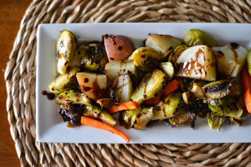 Roasted vegetables with balsamic grape juice syrup