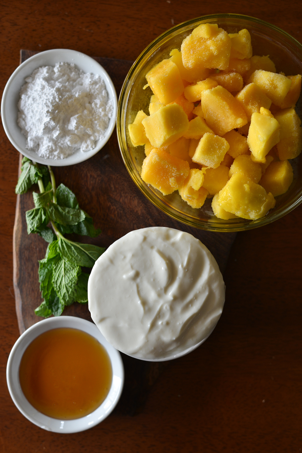 Simple ingredients. Bright mango and Greek yogurt offer tons of nutrition in this recipe.