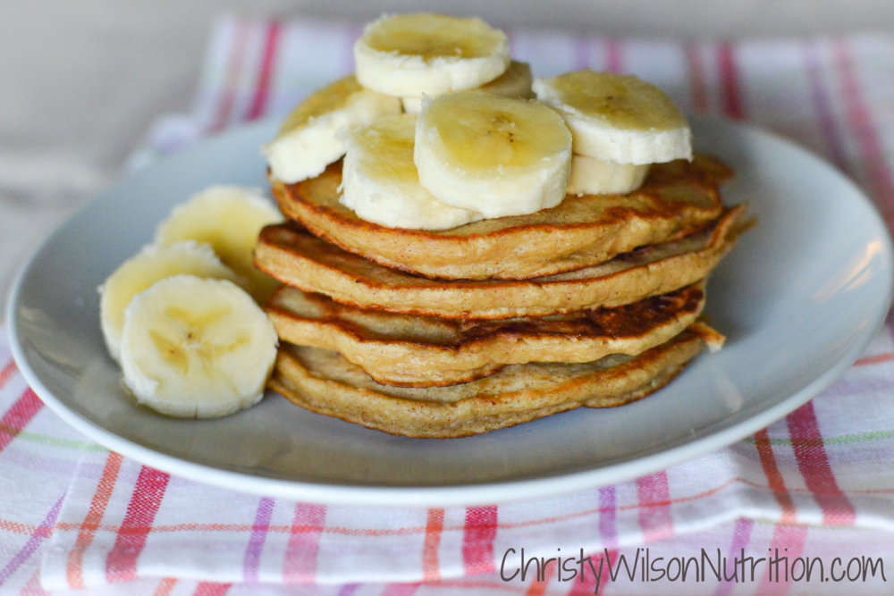 Stack of banana pancakes