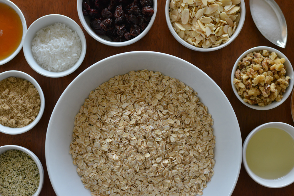 Beautiful, nourishing whole food ingredients make up this delicious granola that can be added to a fruit and yogurt parfait or eaten as a snack.