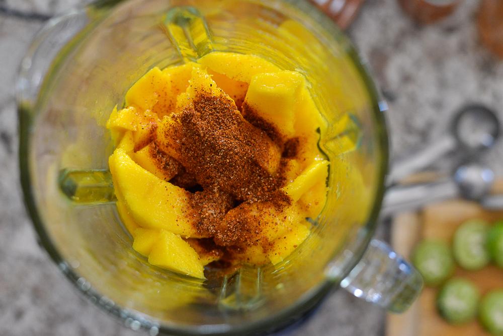 Mango Limon Paleta ingredients in blender