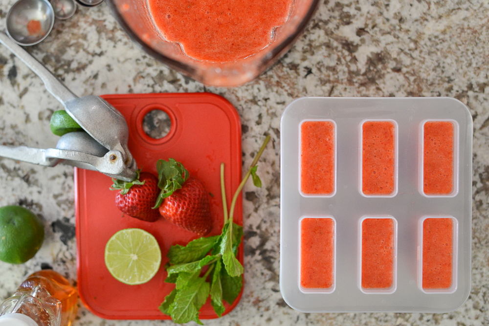 Strawberry Limon paletas prep