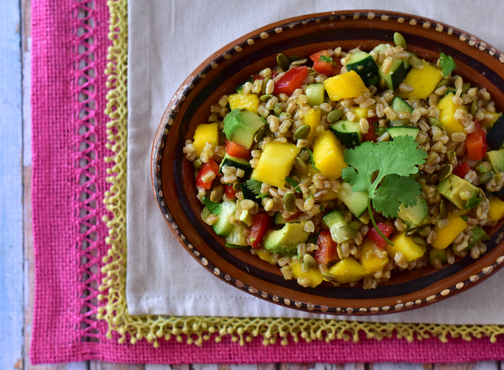 Mango Farro Salad with Tomatillo Dressing.