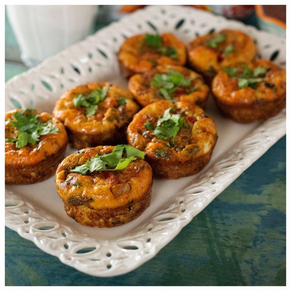 Chorizo Veg Frittatas plated