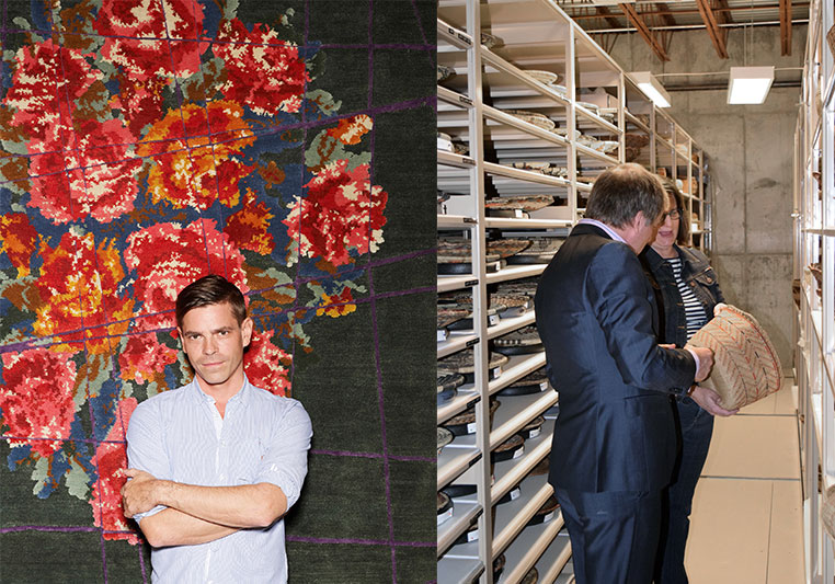 Left: Jan Kath with one of his designs. Right: Kyle Clarkson of Kyle and Kath and Jan Kath's business partner, finding inspiration for the collection in the archives at the Museum of Indian Arts & Culture.