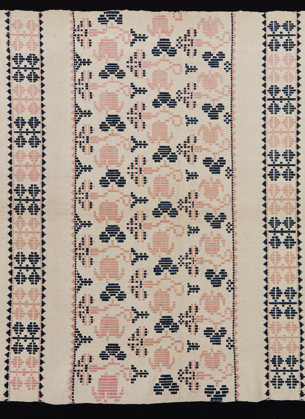 Inspiration textile (Sweden, 19th century) for  Ingrid  fabric on the far right cushion.