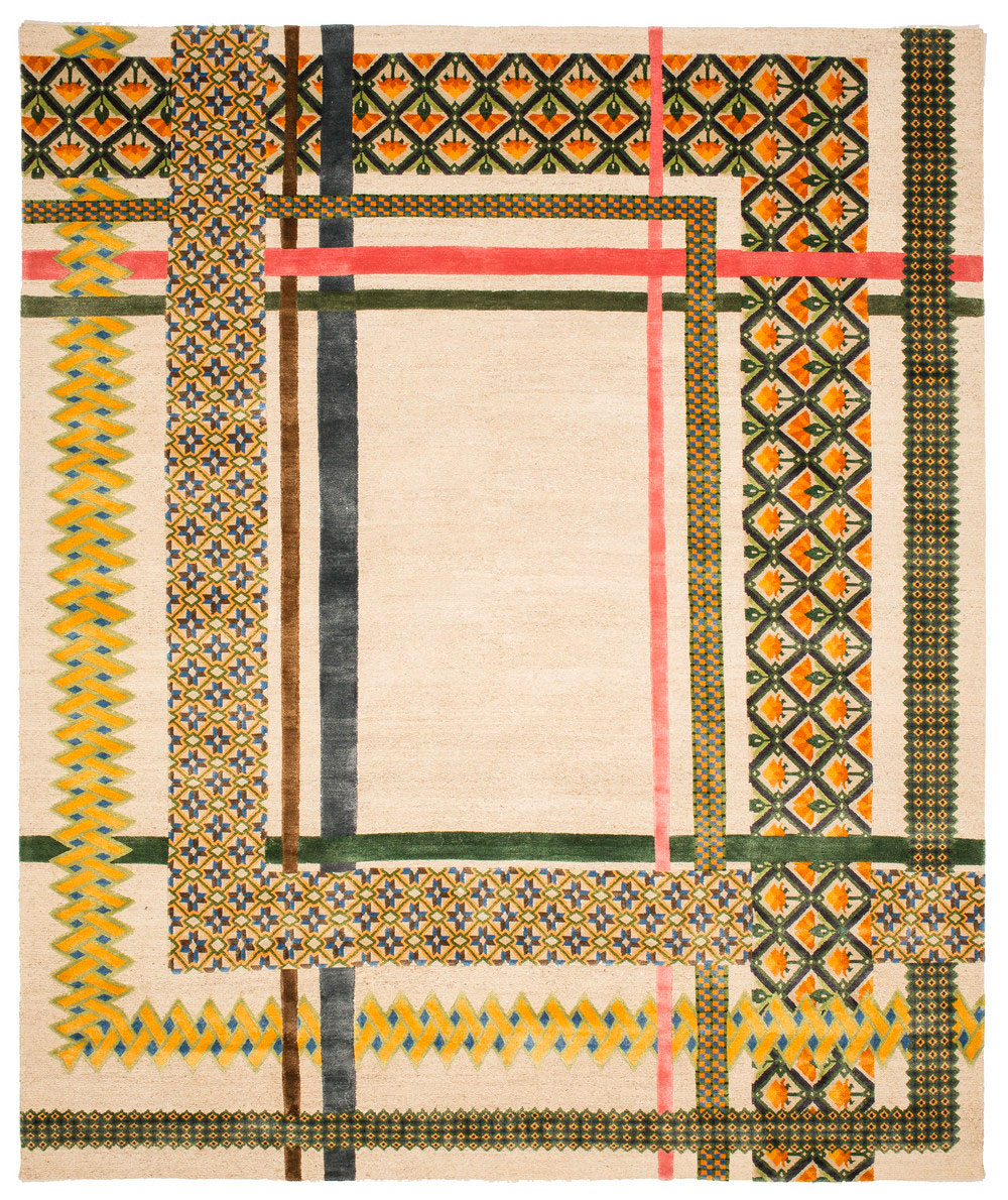 Select rugs from the  Common Threads  collection and two examples at the bottom of  the samplers that inspired their designs. Click thumbnails to view larger.