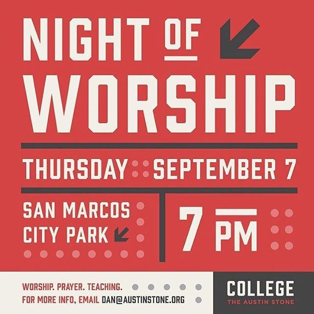 Excited to be leading worship at Texas State Night of Worship THIS THURSDAY! 7pm