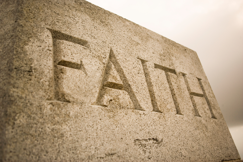 Faith inscription on a granite block
