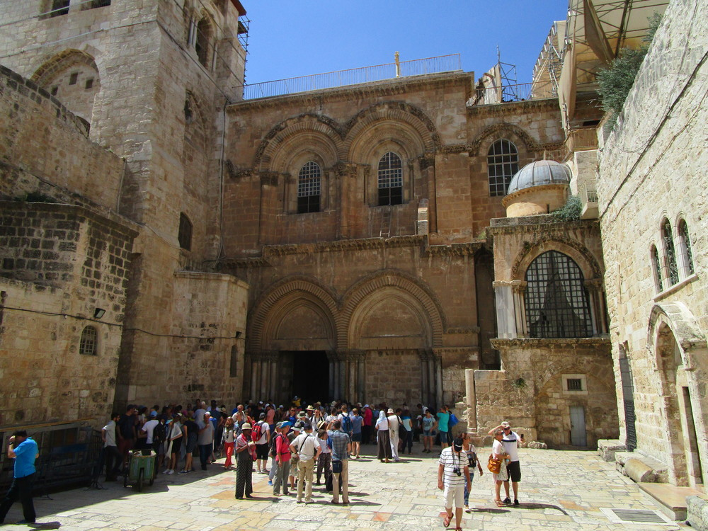 The entrance into the Holy Sepulchre; the church above the hill of Calvary.