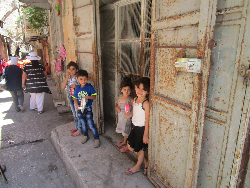A few kids in ancient Nablus.