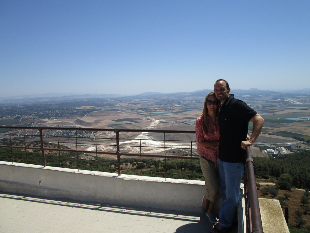 Standing at the Mount of Precipice; the place from where Jesus was threatened to be thrown.