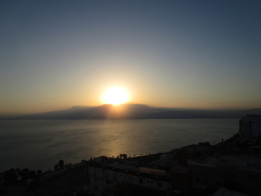 Our last sunrise. This was taken from our room along the shore of the Sea of Galilee. Life is downhill from here.