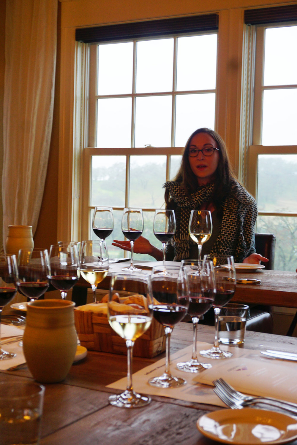 Winemaker Kristina Werner welcoming the bloggers and beginning to lead us through the Arrowood Winery Cabernet Sauvignon Tasting that we thoroughly enjoyed.