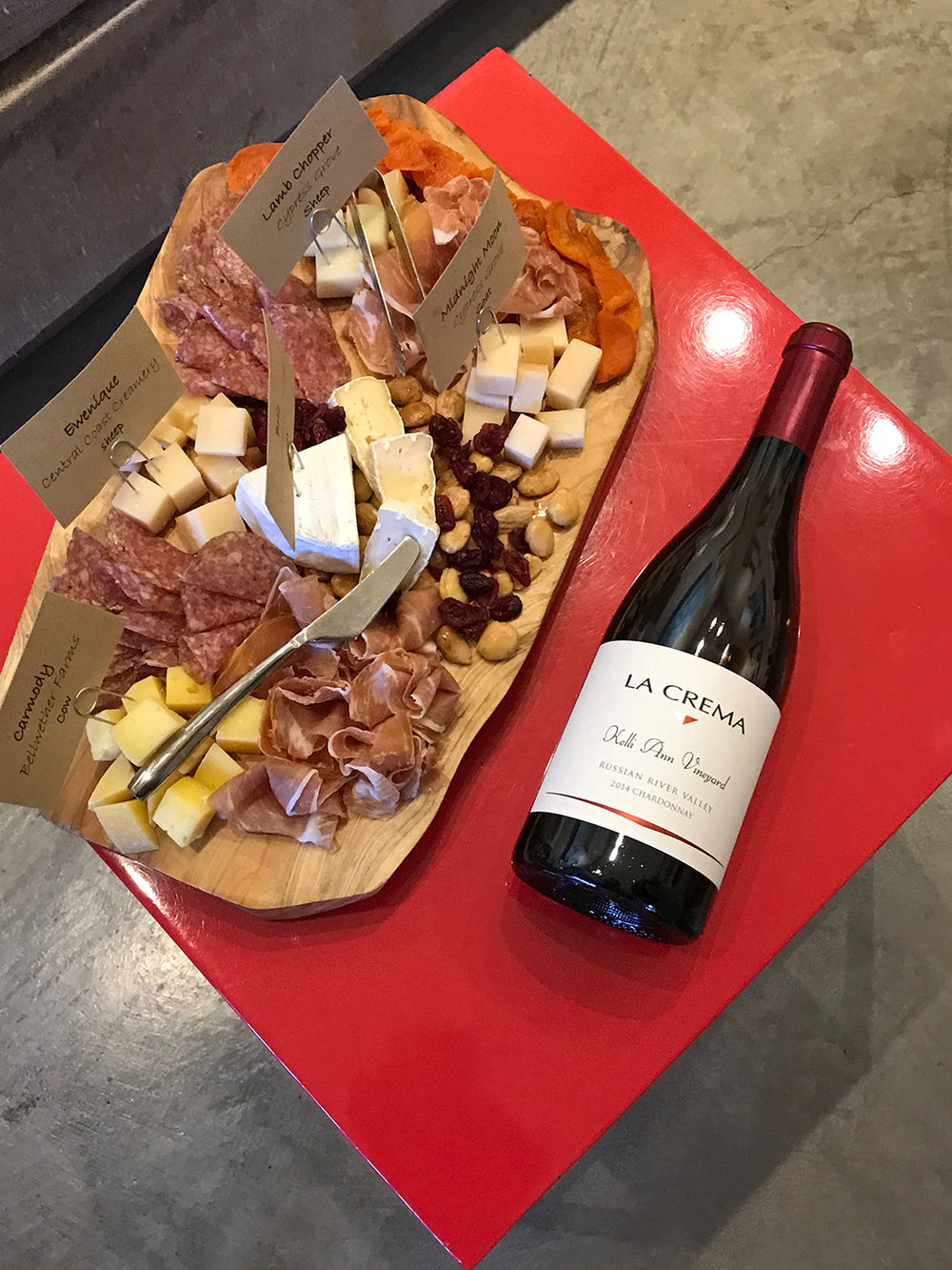 The charcuterie and cheese place guests were welcomed with. This paired deliciously wit the Russian River 2014 La Crema Chardonnay.